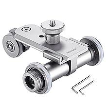 Neewer Aluminium Alloy 3-Wheel Mini Motorized Electric Video Track Rail Slider Dolly Car for Canon Nikon Sony DSLR Camera Camcorder GoPro iPhone Smartphone (Silver)