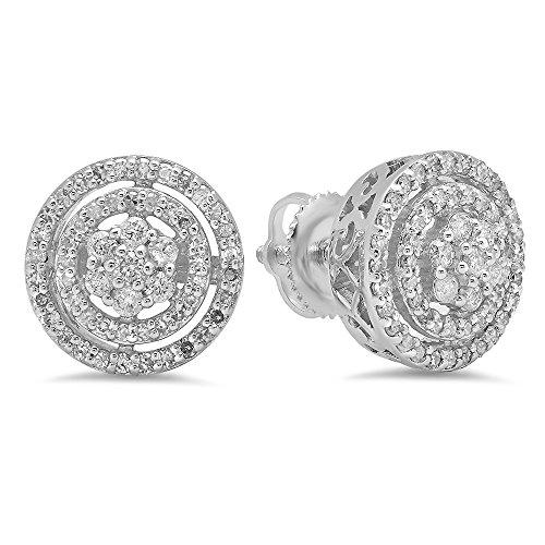 1/2 Ct Diamond Flower Earrings - 7