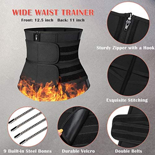 MISS MOLY Sauna Waist Trainer Trimmer Belt for Weight Loss Neoprene Sweat Belt for Men with Double Straps 5