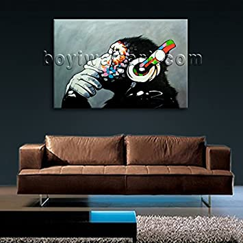 Periglacial Blue Large Abstract Wall Art Bedroom Picture of Thinking Monkey with Headphone Large Wall Art Painting On Canvas