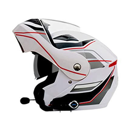 YSHMoto Motocicleta Bluetooth Cascos Modulares Flip Up Bluetooth Touring Cascos Lente Doble, Whitenumber5flower-XL