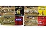 Brunswick Seafood Snacks Variety Bundle, 3.53 oz (Pack of 4) includes 1-Pack Kippered Fillets + 1-Pack Fillets in Tomato & Basil Sauce + 1-Pack Golden Smoked Fillets + 1-Pack Fillets in Lemon & Cracked Pepper