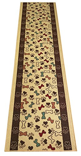 - Custom Size Pet Collection Bones and Paws Roll Runner 26 Inch Wide x Your Length Size Choice Slip Skid Resistant Rubber Back (Beige, 14 ft x 26 in)