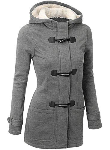 Azbro Mujer Abrigo de Forro Polar Botón de la Bocina de Moda Gris Claro