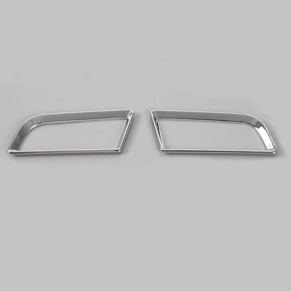 BORUIEN ABS Car Dash Board Left & Right Air Outlet Vent Ring Sticker Decal Trim for Ford Mustang 2015-2017 (Chrome Silver)