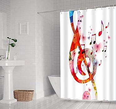 Music Shower Curtain Notes Rhythm Artwork Print for Bathroom