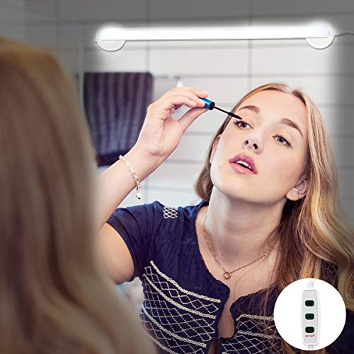 LED Vanity Mirror Light, Portable Vanity Lights Mirror Makeup Light Bathroom Lighting Kit with Brightness Adjustable, Cable Controller, 360 Degree Rotation and USB Powered Cosmetic Lamp ()