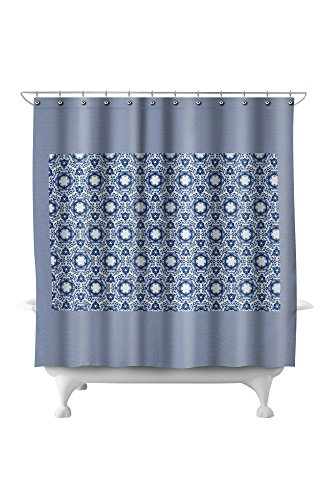 Floral Watercolor Pattern (71x74 Polyester Shower (Pottery Barn Floral Shower Curtain)