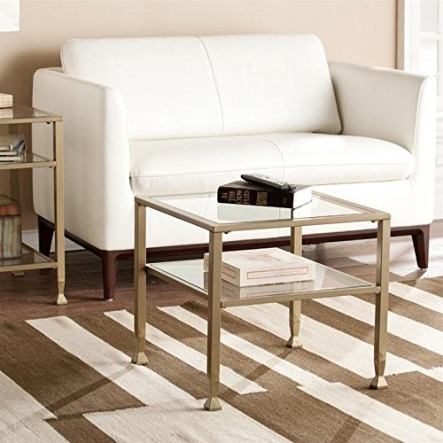 Southern Enterprises Metal-Glass Bunching Coffee Table in Matte Gold
