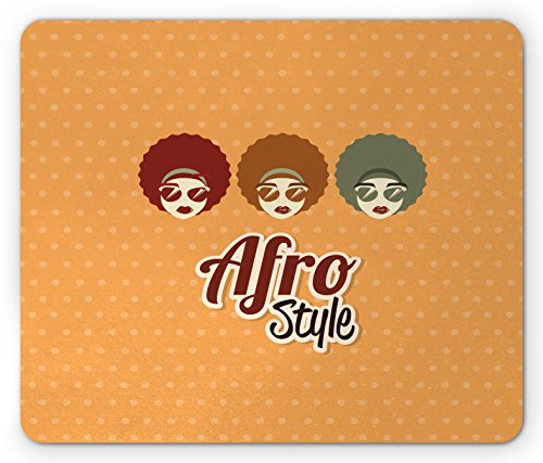 Lunarable Black Woman Mouse Pad, Sunglasses African American Culture Elements with Interesting Hairlines Vintage, Standard Size Rectangle Non-Slip Rubber Mousepad, ()