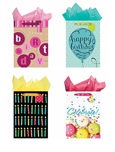 All Occasion Party Gift Bags - Set of 4 Jumbo Birthday Gift Bags w/Tags & Tissue ()