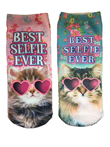 HARAJUKU Printed Socks Best Selfie Ever Cat in Heart Shaped - Plus Sunglasses Best For Size