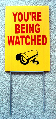 1 Pc Attractive Popular You're Being Watched Sign Anti-Robber Security Lawn Anti-Burglar Size 8