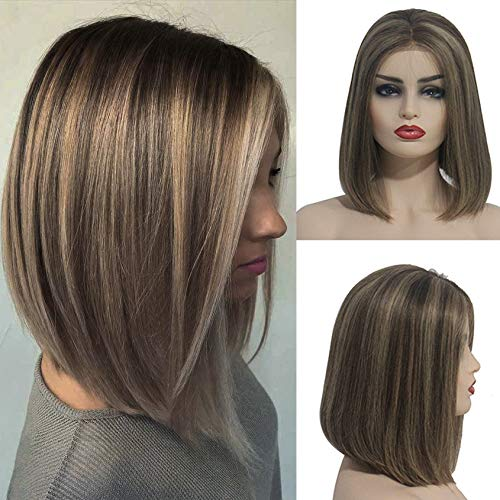 Ombre Bob Lace Front Wig Human Hair Ombre Chestnut Brown to Beige Blonde Pre Plucked 13x4 Frontal 180% Density 2 Tone Glueless Short Blonde Bob Wigs with Brown Roots Bleached Knots (#6T6/18,10