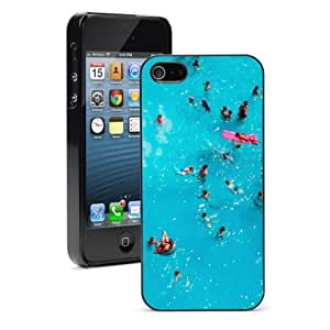 Apple iPhone 4 4S 4G Black 4B690 Hard Back Case Cover Color Aerial View of People in Blue Swimming Pool