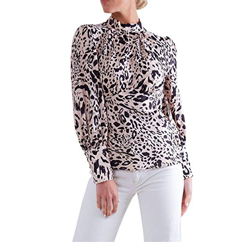 Women's Sexy Vintage Circle Collar Backless Hollow Blouse Long Sleeve Leopard Print Top Lady Casual Shirt T-Shirt (Khaki, L)