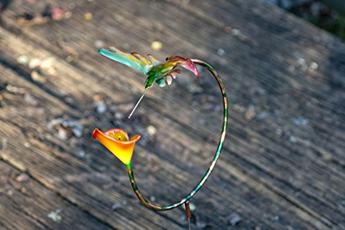 Handmade Copper Hummingbird Hoop with Orange Calla Lily