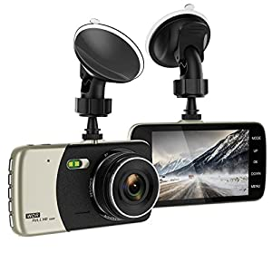Dash Cam, 4 Inch HD IPS Screen 1080p Dash Cam, Car Recorder, Dashboard Camera with G-Sensor, Parking Monitoring, HDR Night Vision, Motion Detection, Loop Recording