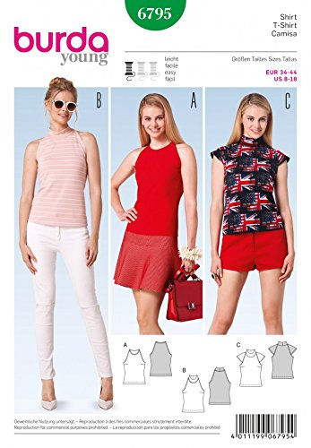 Burda Ladies Easy Sewing Pattern 6795 - Halter Neck Summer Tops ...
