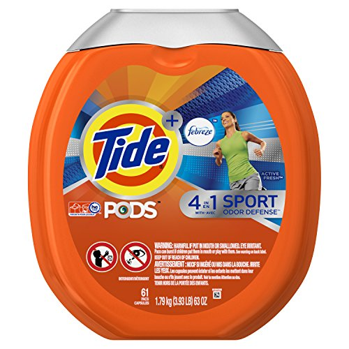 Tide Pods Plus Febreze Sport Odor Defense 4 In 1 He Turbo Laundry Detergent Pacs  Active Fresh Scent  61 Count Tub  Packaging May Vary