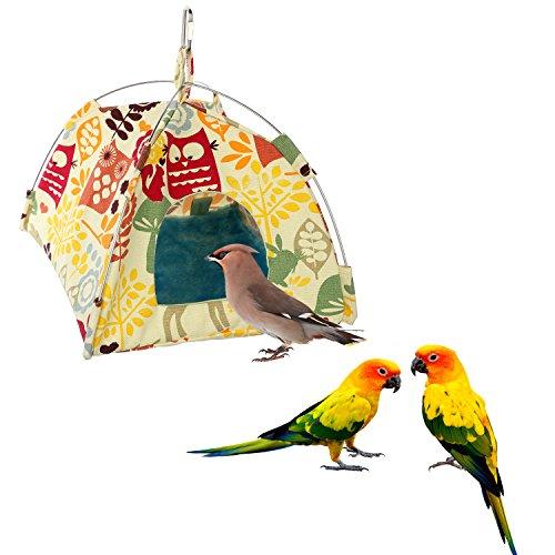 - Jusney Bird toys Bird Hammock Parrot Hanging Tent Budgerigar Dual Layer Nest Parakeet Cave Tent for Medium Birds (Big)