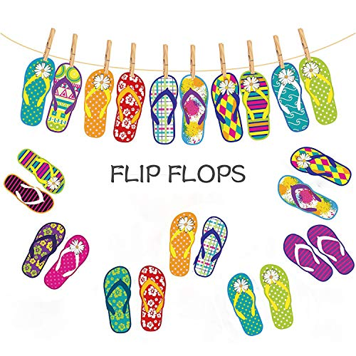 CC HOME Hawaii Themed Summer Party Slipper Garland Banner Kit Luau Party Supplies for Kids birthday Holiday Wedding Beach Party,Hawaiian/Tropical/Tiki/Summer Pool Party Decorations Supplies -