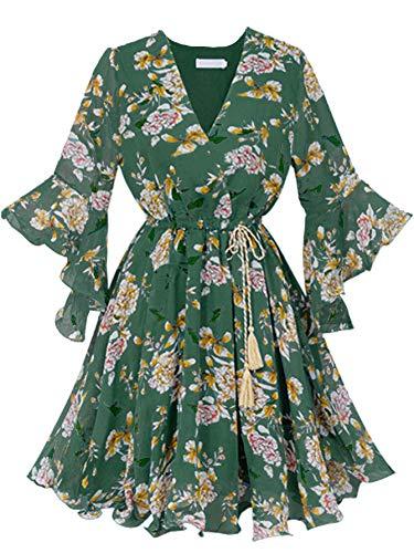 Dress Floral Candies (FreeNFond Women Plus Size Midi Floral Dress,Summer Short Sleeves Empire Waist Dress Green 1X)