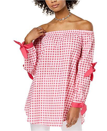 XOXO Women's Juniors' Cotton Off-The-Shoulder Double-Tie Top (Raspberry, -