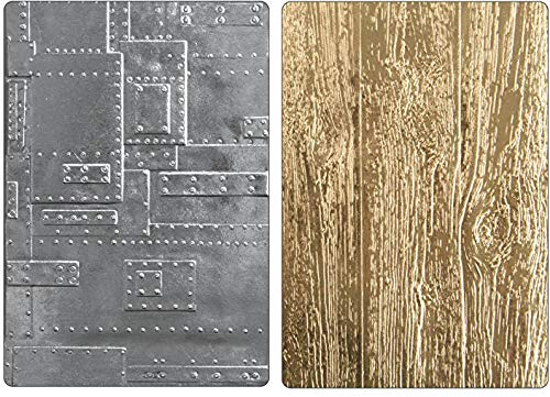 Tim Holtz Sizzix 3D Texture Fades Embossing Folders - Foundry Lumber - 2 item bundle Tim Holtz Texture Fades