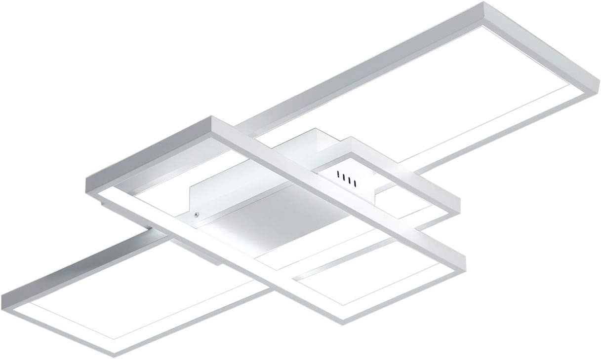 Unitary Brand Modern White Metal and Acrylic Remote Control Nature White and Warm White Dimmable Geometric Modeling Design Kitchen LED Flush Mount Ceiling Light Max 42W Painted Finish