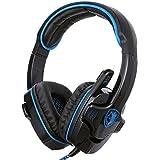 GHB Sades SA-901 auriculares gaming, cascos gaming, sonido envolvente 7.1 con micrófono USB interfaz para PC y ordenador portátil, etc. azul y negro