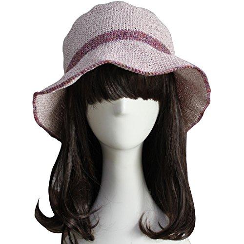 Beanie Single Stripe - ZORJAR Knitted Hats for Women Handmade Linen Chic Fashion Crochet Bucket Hat (Single Stripe Pink)