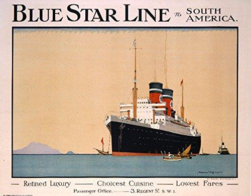 Blue Star Line Vintage Poster artist: Wilkinson England Art Print, Wall Decor Travel