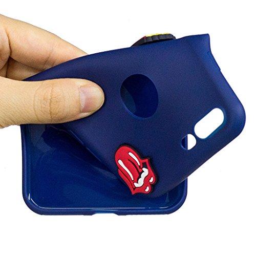 Funda iPhone 7 PLUS Carcasa Protectora Lindo OuDu **Diseño 3D** Funda para iPhone 7 PLUS Caso Silicona TPU Funda Suave Soft Silicone Case Cover Bumper Funda Ultra Delgado Carcasa Flexible Ligero Caja  Azul oscuro