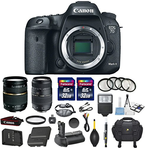 Canon EOS 7D Mark II 20.2MP CMOS Digital SLR DSLR Camera Bundle with Tamron AF 28-75mm f/2.8 Autofocus Lens & Tamron Auto Focus 70-300mm f/4.0-5.6 Di LD + Accessory Kit (17 items)