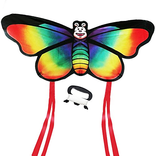 Rainbow Butterfly Kite For Beach and Outdoor Fun - Best HQ Kite for Kids, Easy to Assemble (Butterfly Large Kite)