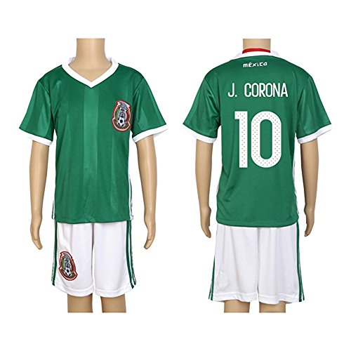 2016 Copa #10 J. Corona Green Home Kids Soccer Jersey & Short Kit Set