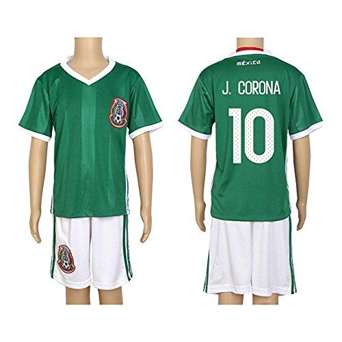 2016 Copa #10 J. Corona Green Home Kids Soccer Jersey & Short Kit Set
