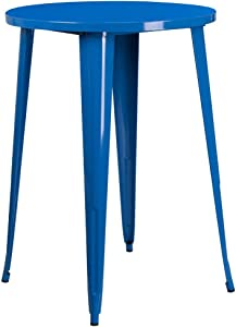 """Flash Furniture Commercial Grade 30"""" Round Blue Metal Indoor-Outdoor Bar Height Table"""