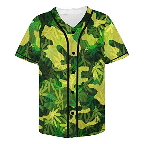 - INTERESTPRINT Men's Marijuana Leaves Baseball Jersey Button Down Short Sleeve Shirt XL