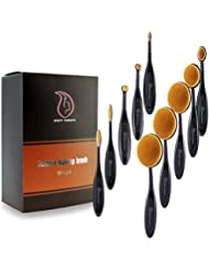 Makeup Brushes Set Professional 10 Pieces Oval Make Up Brushes Soft Toothbrush Shaped Design for Foundation, Concealer , BB cream, Powder with Box and Rose Beauty Blender
