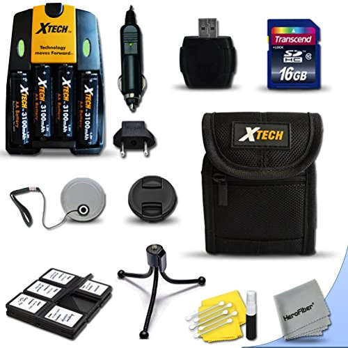 (Ideal Accessory Kit for Canon Powershot A720 IS, A710 IS, A2100 IS, A2000 IS, A1400 , A1300 , A1200 , A1100 IS , A1000 IS, A810, A800, SX3 IS, A700, A650, A640, A630, A620, A610, A570 IS, A560, A550, A540, A530, A520, A510 Digital Cameras Includes 16GB High Speed Memory Card + 4 AA High Capacity 3100mAh Rechargeable Batteries with Quick AC/DC Charger + Padded Medium size Case + Universal Card Reader + Mini Table Tripod + Memory Case Holder + Screen Protectors + Deluxe Cleaning Kit + Lens Cap Holder + Ultra Fine HeroFiber Cleaning Cloth)