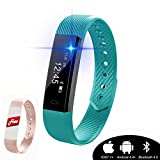 Kingkok Wireless Fitness Tracker Watch with Calorie Counter Sedentary Remind Sleep Monitor Pedometer Watch Smart Activity Tracker Bracelet (Green)