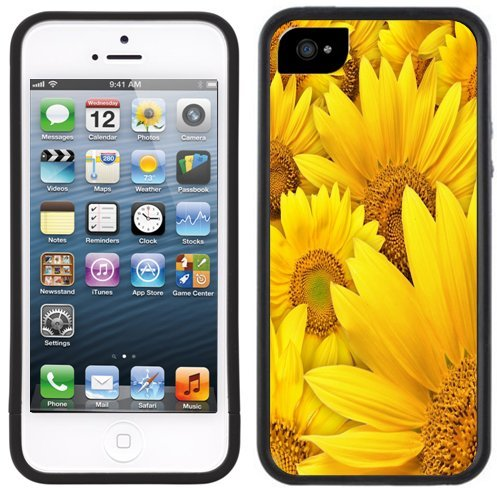 Sonnenblume | Handgefertigt | iPhone 5 5s | Schwarze Hülle