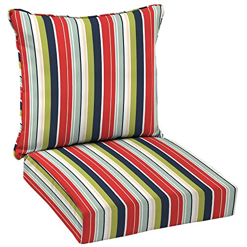 Hampton Bay Francesca Stripe 2-Piece Deep Seating Outdoor Dining Chair Cushion Set