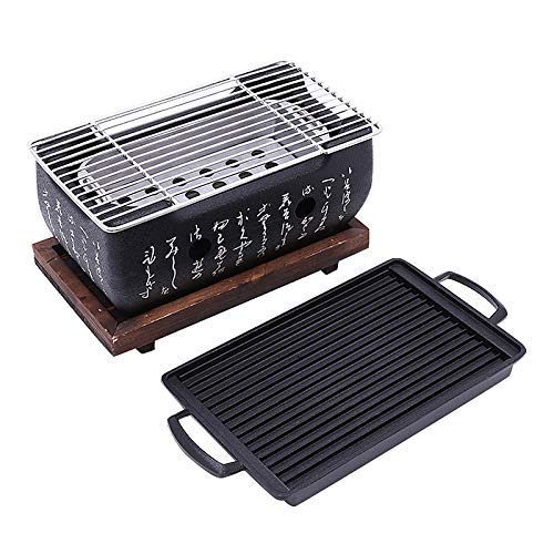 Traditional Stove - 2-4 People Japanese Barbecue Grill Portable Barbecue Stove Japanese Food Charcoal Stove with Non-Stick Baking Tray