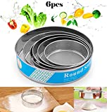 handrong 6pcs Professional Fine Mesh Flour Sieve Round Stainless Steel Flour Sifter Cake Baking Flour Filter Flour Mesh Strainer Tools for Kitchen Food Rice Vegetable Herbal Pollen (40 Mesh)