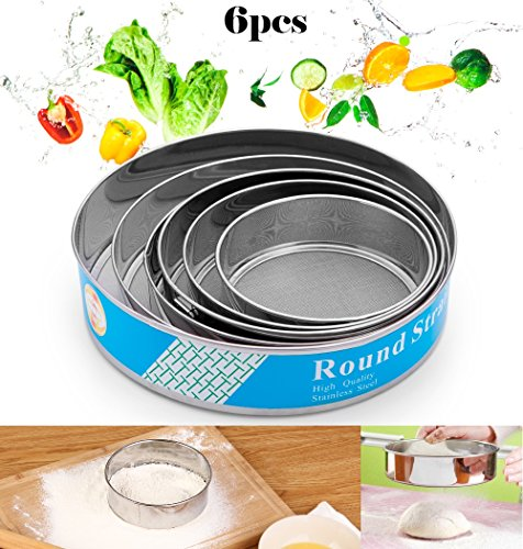 - handrong 6pcs Professional Fine Mesh Flour Sieve Round Stainless Steel Flour Sifter Cake Baking Flour Filter Flour Mesh Strainer Tools for Kitchen Food Rice Vegetable Herbal Pollen (40 Mesh)