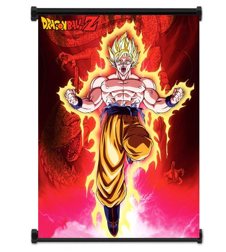 Dragon Ball Z Anime Super Saiyan Goku Fabric Wall Scroll Poster (32x42) Inches [ACT]DragonBallZ-21 (L) (Goku Super Saiyan Poster)