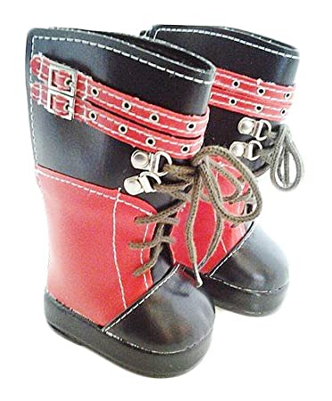 Red and Black Boots with Laces and Buckles